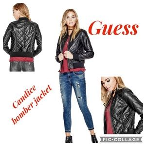 Guess Black Candice Bomber Jacket - Size XS